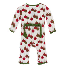 KicKee Pants Print Classic Ruffle Coverall with Zipper - Natural Ornaments