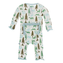 KicKee Pants Print Classic Ruffle Coverall with Zipper - Natural Woodland Holiday