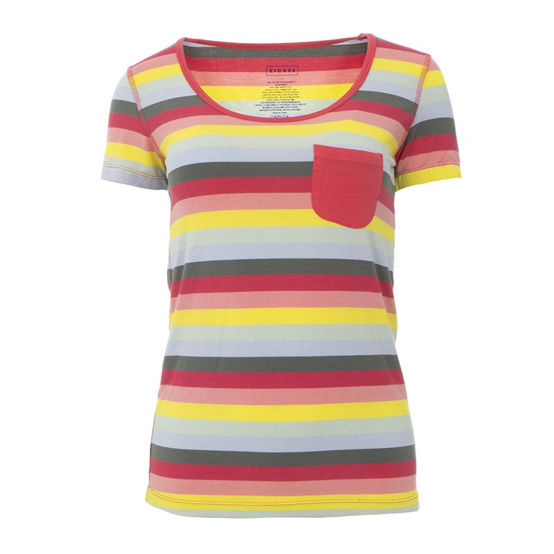 KICKEE PANTS Women's Print Short Sleeve Scoop Neck Tee with Tiny Pocket in Biology Stripe