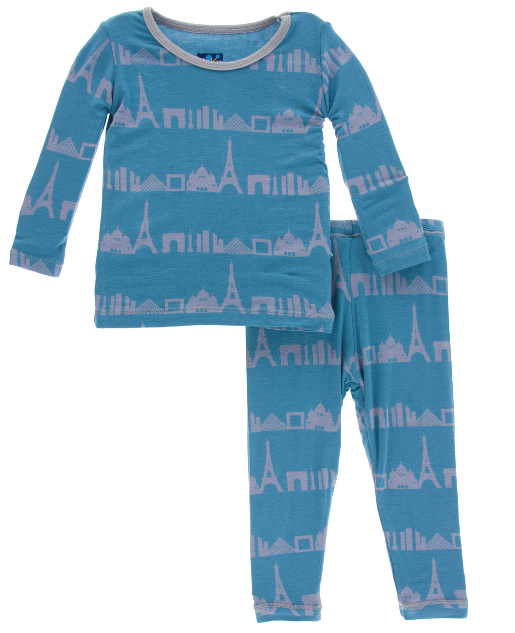 KicKee Pants Print Long Sleeve Pajama Set - Parisian Skyline