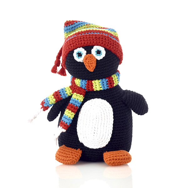 Pebble Rattle - Holiday Penguin