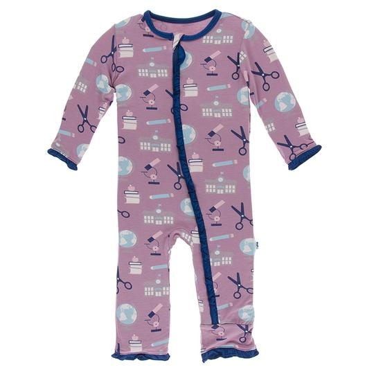 Kickee Pants PRINT MUFFIN RUFFLE COVERALL WITH ZIPPER PEGASUS EDUCATION