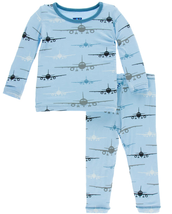 KicKee Pants Print Long Sleeve Pajama Set - Pond Airplanes