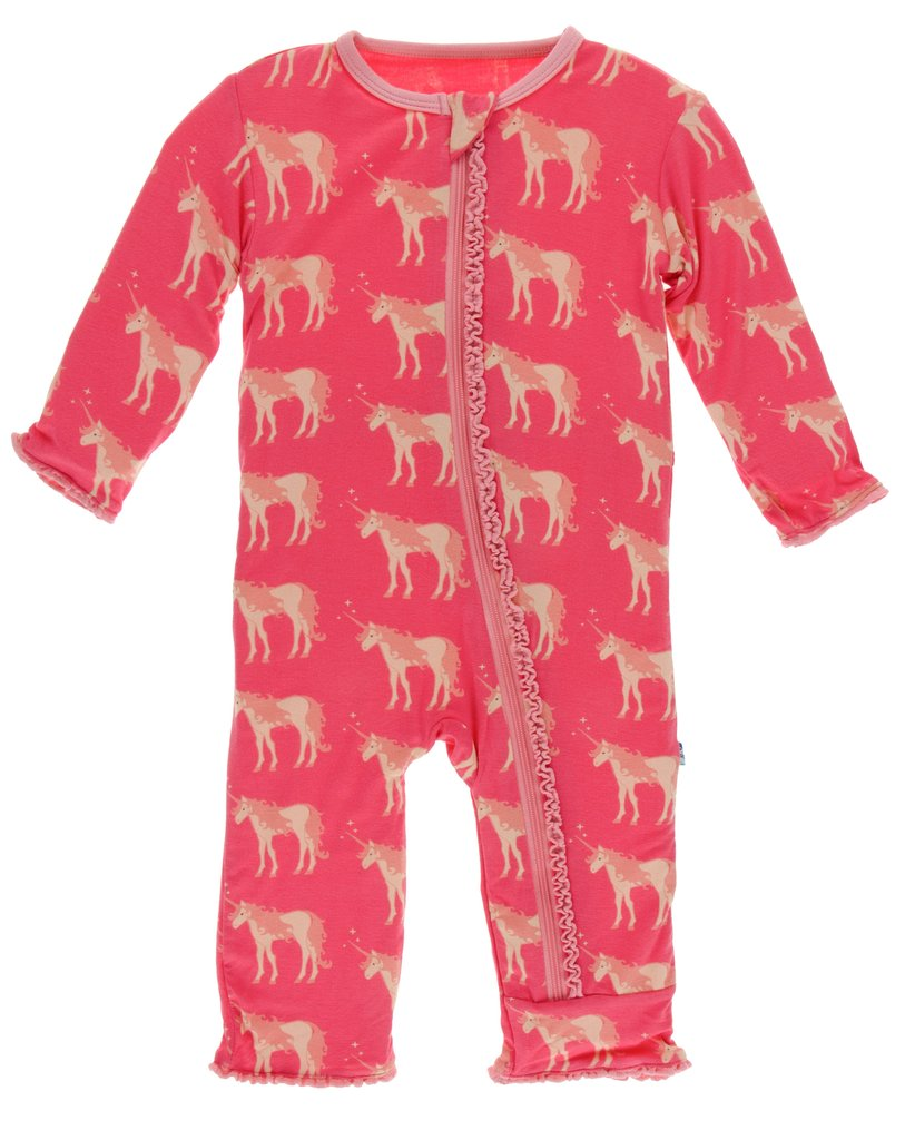 Kickee Pants Print Classic Ruffle Coverall with Zipper - Red Ginger Unicorns