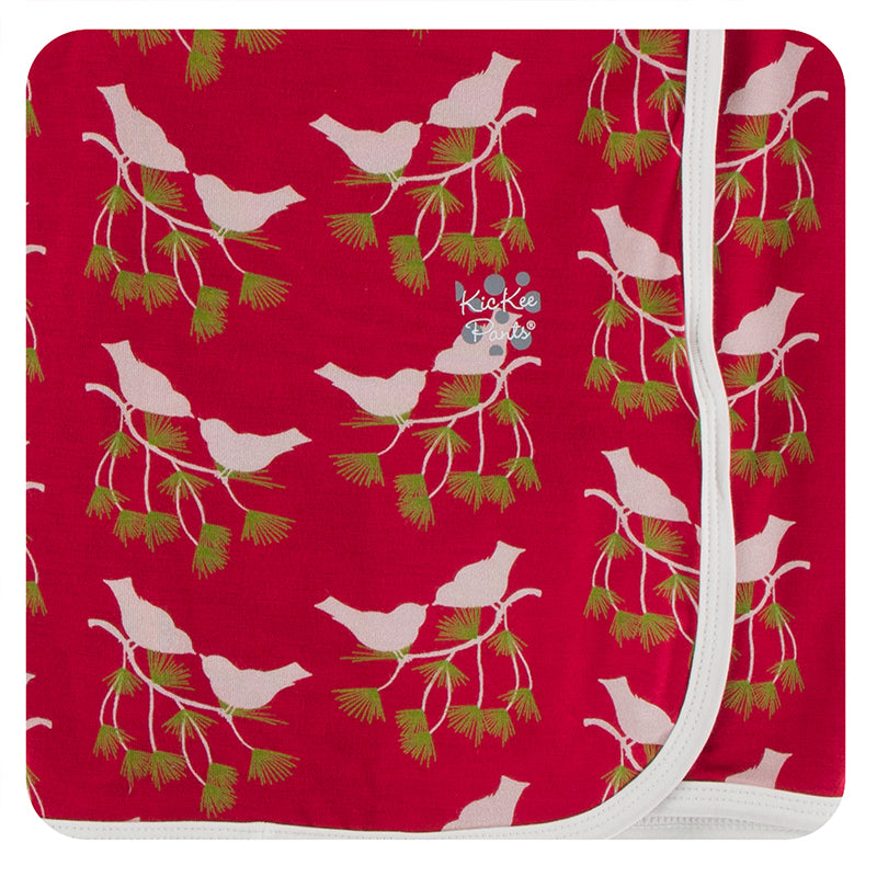 KICKEE PANTS PRINT SWADDLING BLANKET CRIMSON KISSING BIRDS