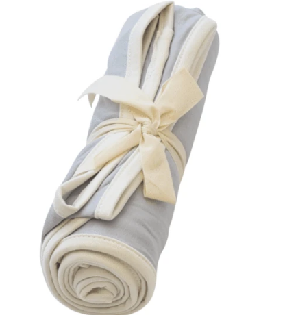 KYTE SWADDLE BLANKET IN STORM WITH CLOUD TRIM