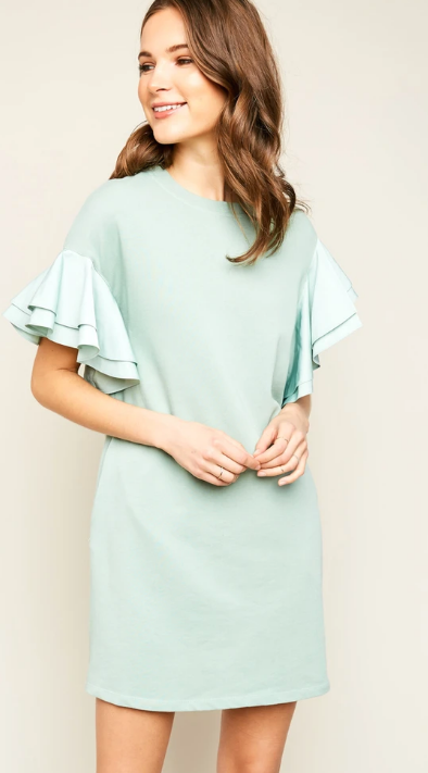 HAYDEN Asymmetric Shoulder Ruffled Shift Dress SEAFOAM