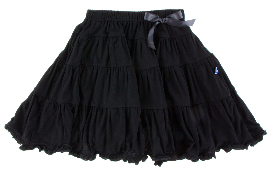 KicKee Pants Solid Long Tiered Skirt - Midnight