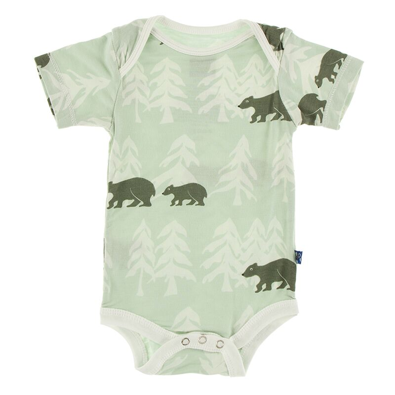 Kickee Pants Print Short Sleeve One Piece (Aloe Bears and Treeline) Preorder