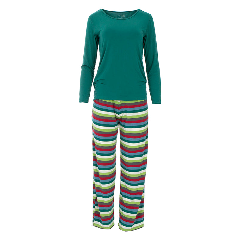 KICKEE PANTS WOMENS LONG SLEEVE LOOSEY GOOSEY TEE & PANTS SET 2020 MULTI STRIPE