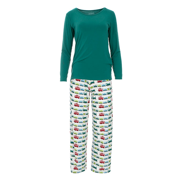 KICKEE PANTS WOMENS LONG SLEEVE LOOSEY GOOSEY TEE & PANTS SET NATURAL TOY TRAIN