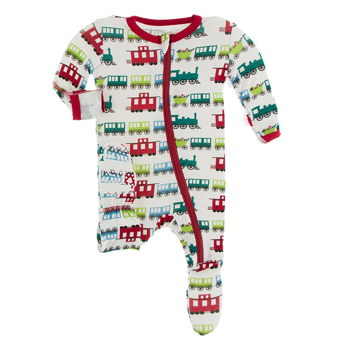 KICKEE PANTS PRINT FOOTIE WITH ZIPPER NATURAL TOY TRAIN
