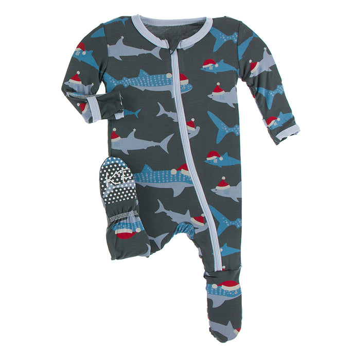 KICKEE PANTS PRINT FOOTIE WITH ZIPPER PEWTER SANTA SHARKS