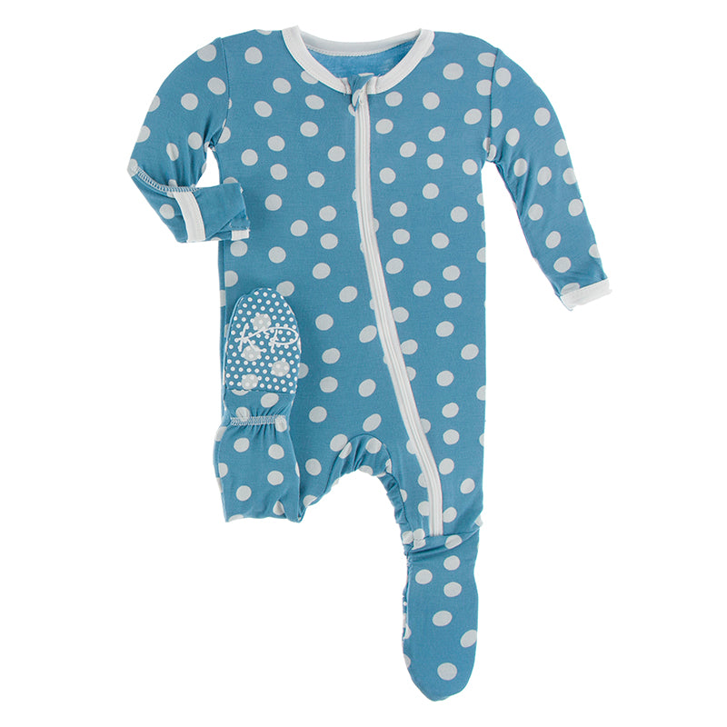 KICKEE PANTS PRINT FOOTIE WITH BLUE MOON SNOW BALL
