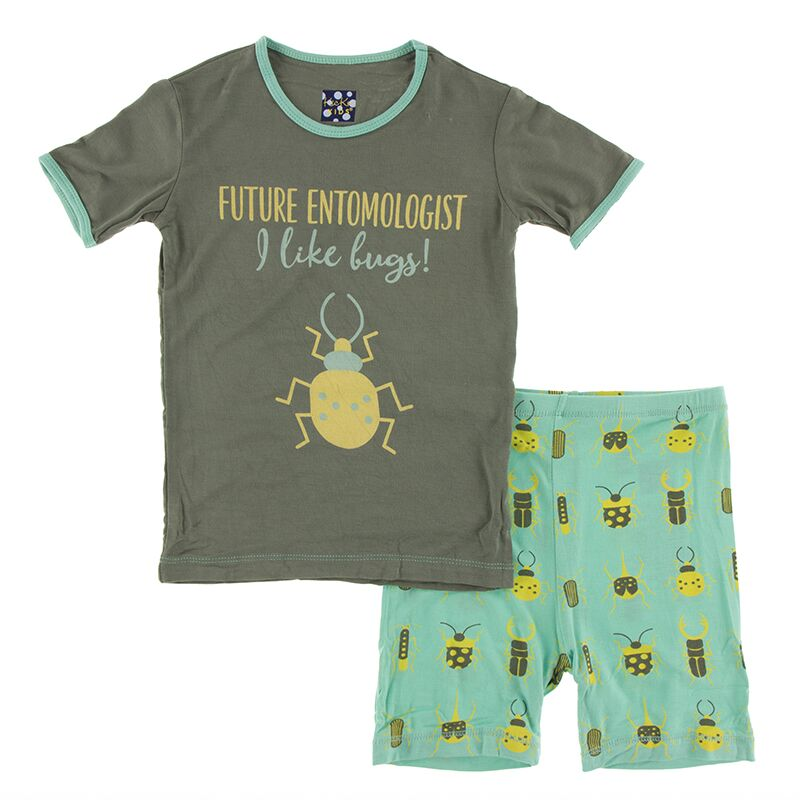 Kickee Pants Short Sleeve Piece Print Pajama Set with Shorts (Glass Beetles) Preorder