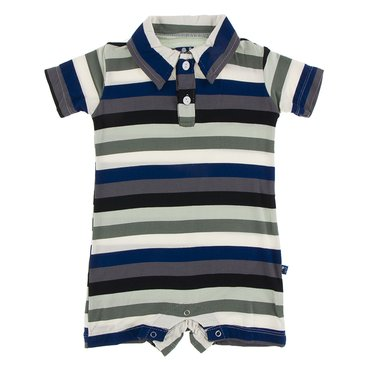 KICKEE PANTS PRINT SHORT SLEEVE POLO ROMPER IN ZOOLOGY STRIPE