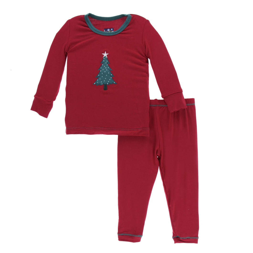 KicKee Pants Holiday Long Sleeve Applique Pajama Set - Crimson Tree