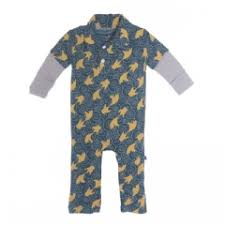 KicKee Pants Print Long Sleeve Polo Romper - Peacock Fish