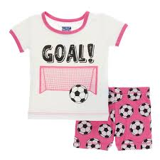 KicKee Pants Print Short Sleeve Pajama Set with Shorts - Flamingo Soccer
