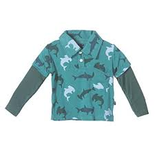 KicKee Pants Long Sleeve Print Double Layer Polo - Lagoon Hammerhead