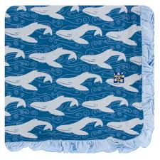 KICKEE PANTS RUFFLE TWILIGHT WHALE TODDLER BLANKET