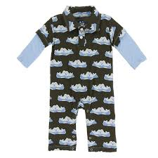 KicKee Pants Print Long Sleeve Polo Romper - Bark Seals