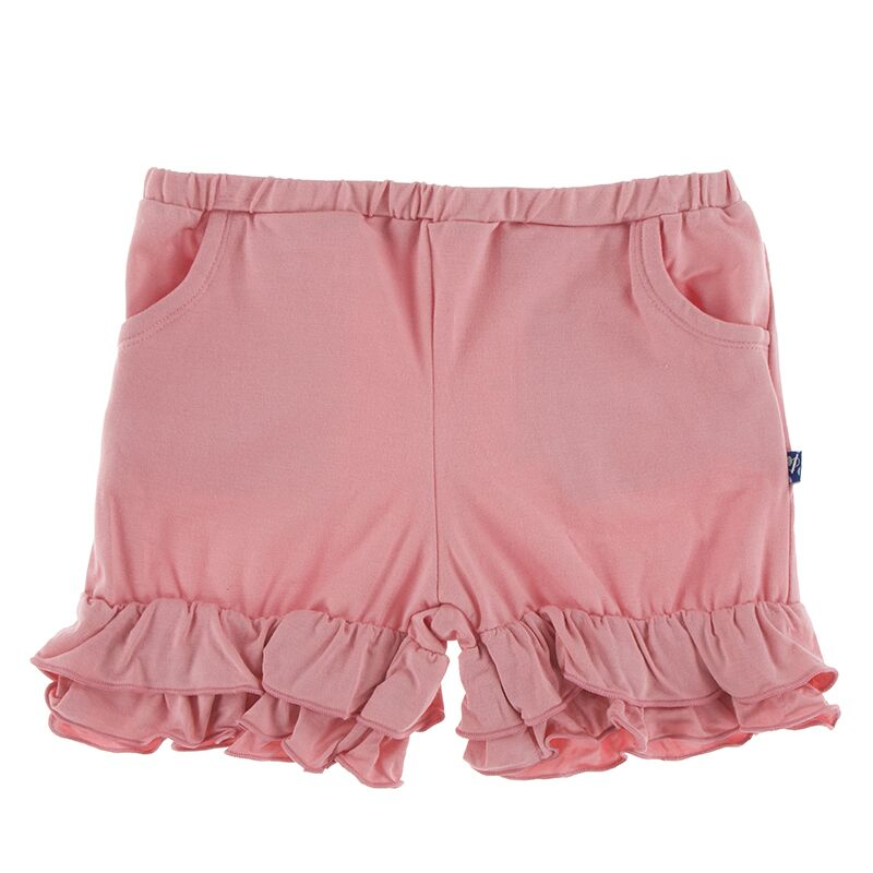 Kickee Pants Solid Double Ruffle Performance Jersey Shorts (Strawberry - XS-5/6)