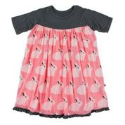 KICKEE PANTS PRINT CLASSIC SHORT SLEEVE SWING DRESS STRAWBERRY FOREST RABBIT