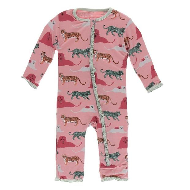 Kickee Pants Print Muffin Ruffle Coverall in Strawberry Big Cats