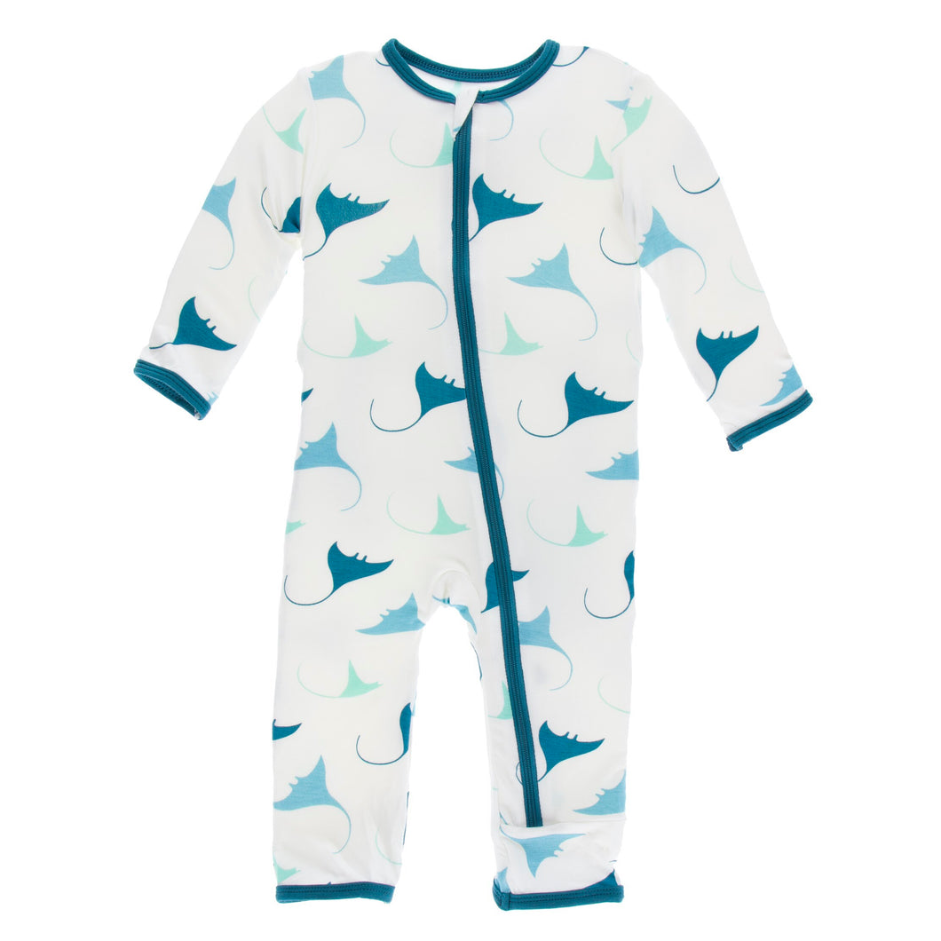 KicKee Pants Print Coverall W/Zipper - Natural Manta Ray