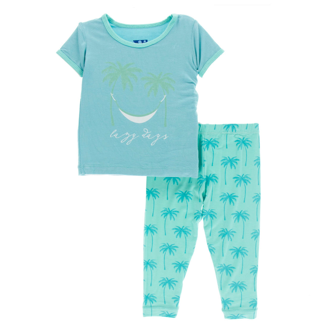 KicKee Pants Print Short Sleeve Pajama Set - Glass Palm Trees