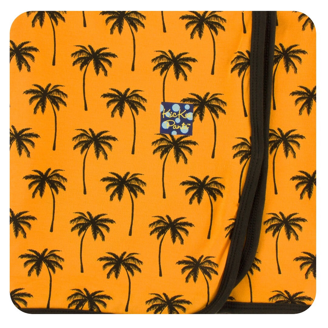 KicKee Pants Print Swaddling Blanket- Apricot Palm Trees