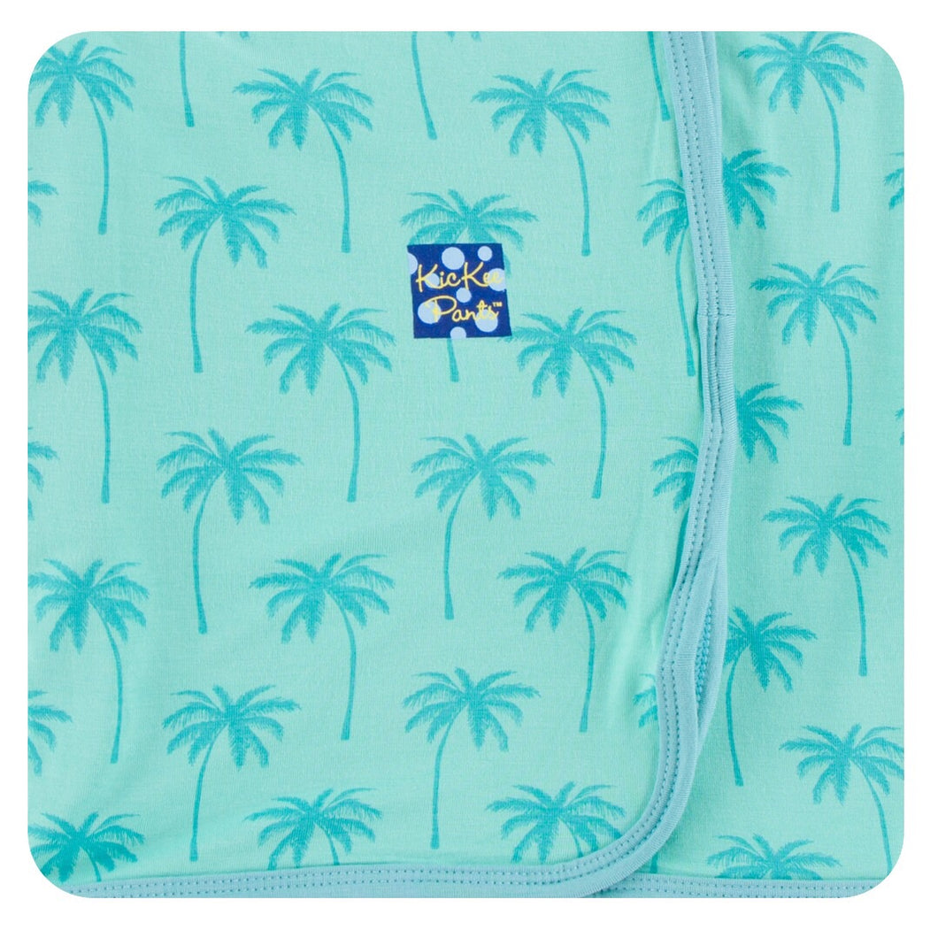 KicKee Pants Print Swaddling Blanket- Glass Palm Trees