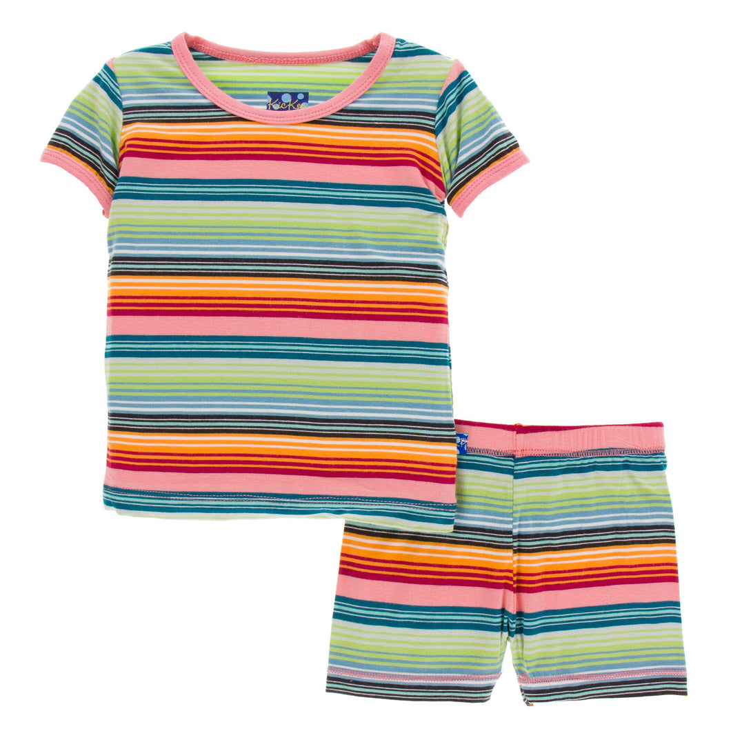KicKee Pants Print Short Sleeve W/Shorts Pajama Set - Cancun Strawberry Stripe