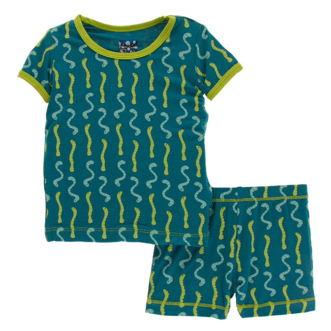KicKee Pants Print Short Sleeve Pajama W/Shorts - Oasis Worms (PREORDER)