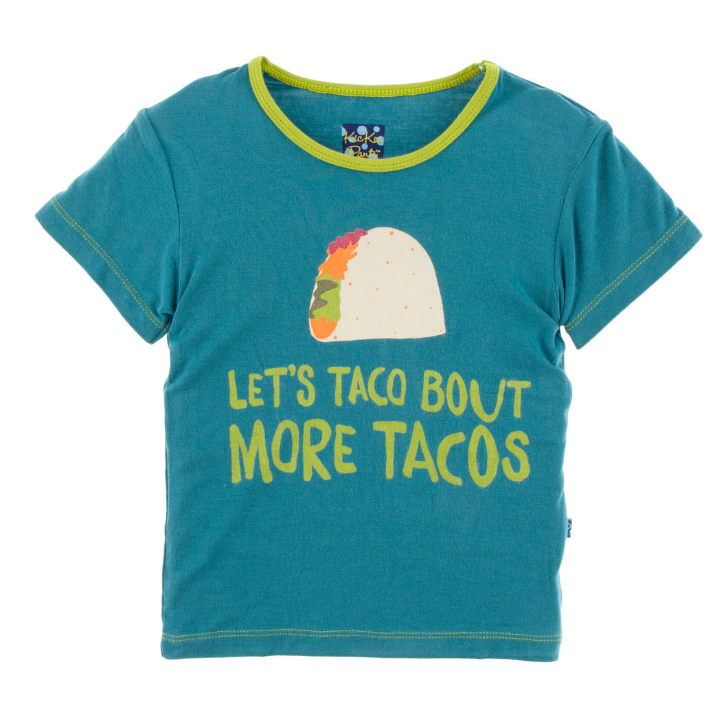 KicKee Pants Short Sleeve Easy Fit Piece Print Tee - Seagrass Let's Talk About More Tacos