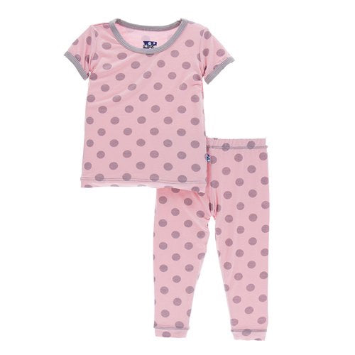 KicKee Pants Print Short Sleeve Pajama Set - Lotus Feather Dot