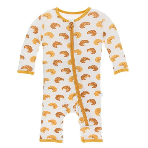 KicKee Pants Print Coverall W/Zipper - Natural Croissants