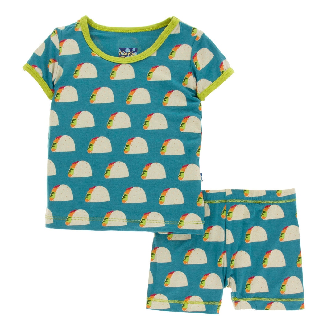 KicKee Pants Print Short Sleeve Pajama Set W/Shorts - Seagrass Tacos