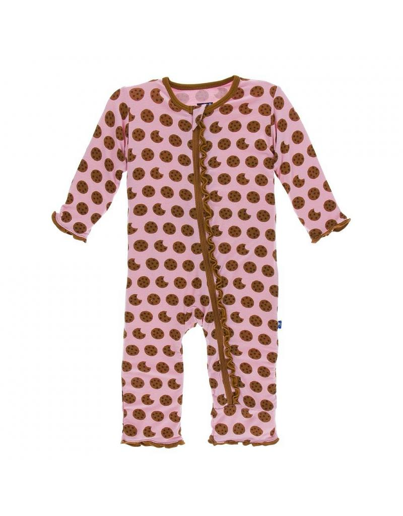 Kickee Pants Print Muffin Ruffle Coverall W/Zipper - Lotus Cookies