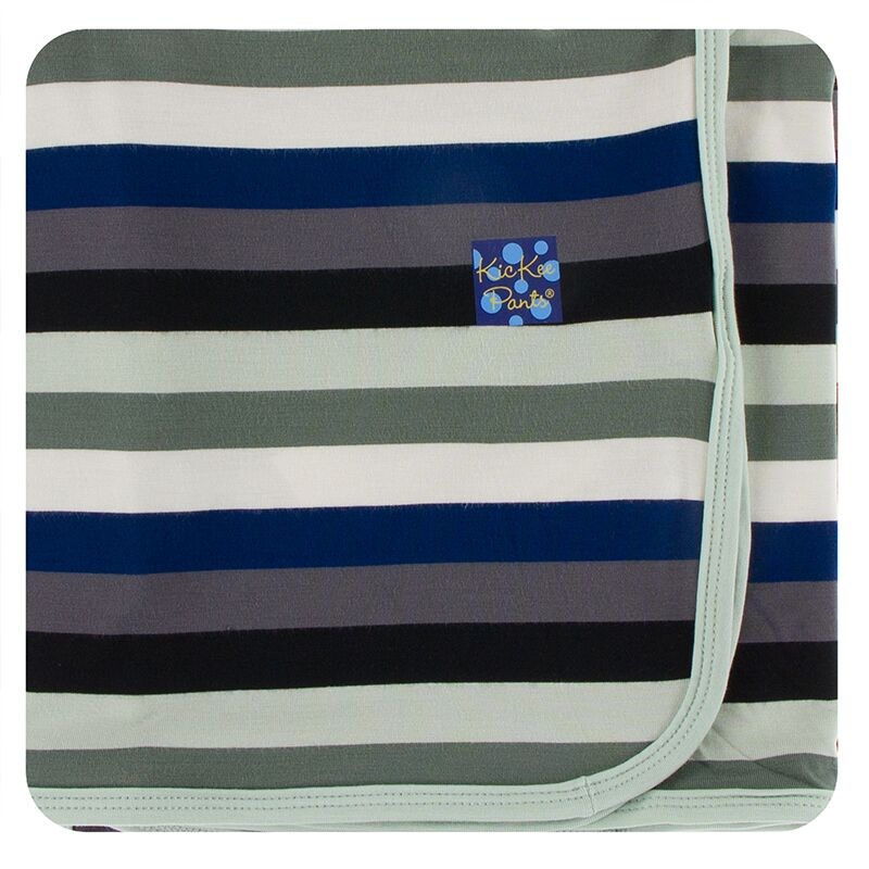 Kickee Pants Print Swaddling Blanket (Zoology Stripe - One Size) Preorder