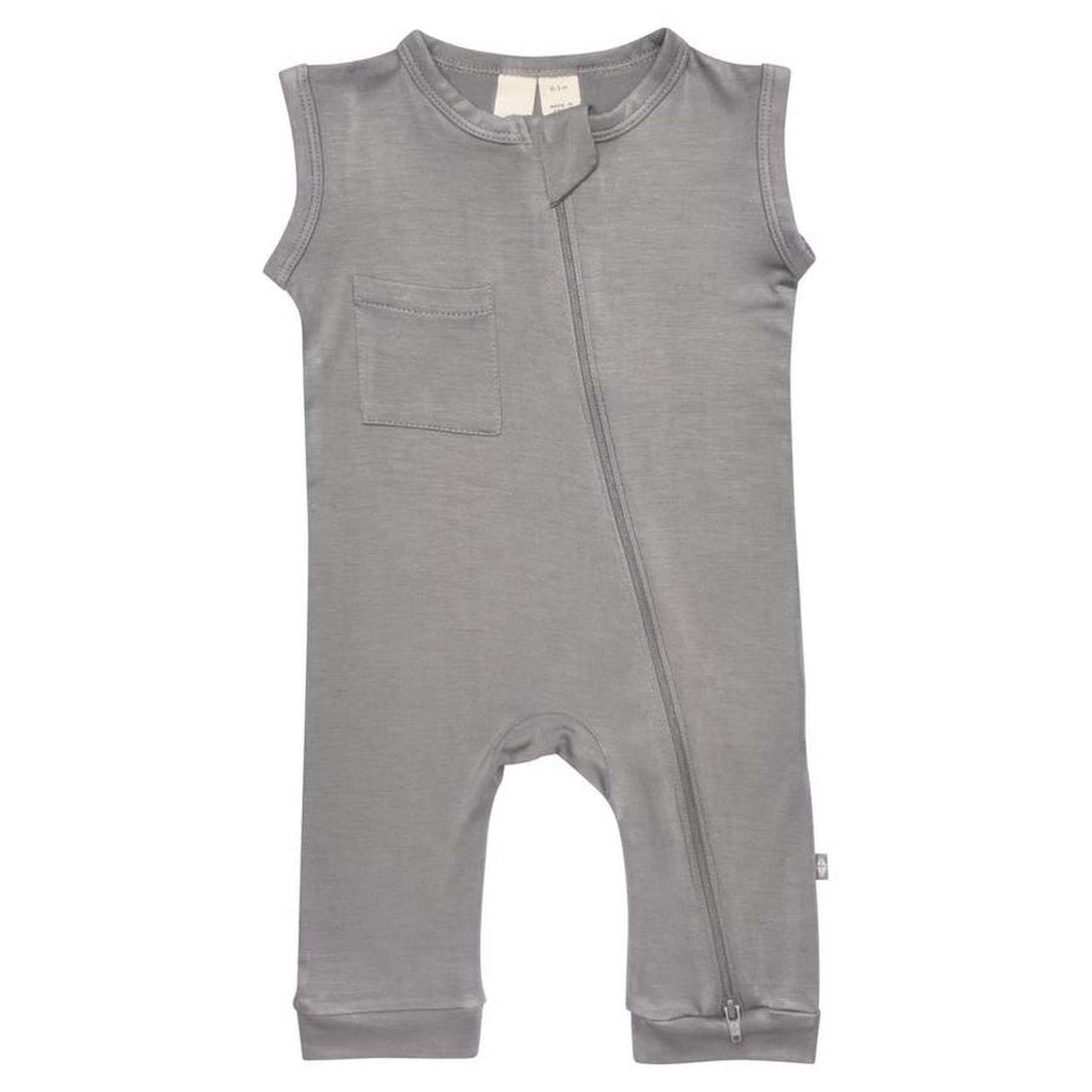 KYTE ZIPPER SLEEVELESS ROMPER IN CHROME