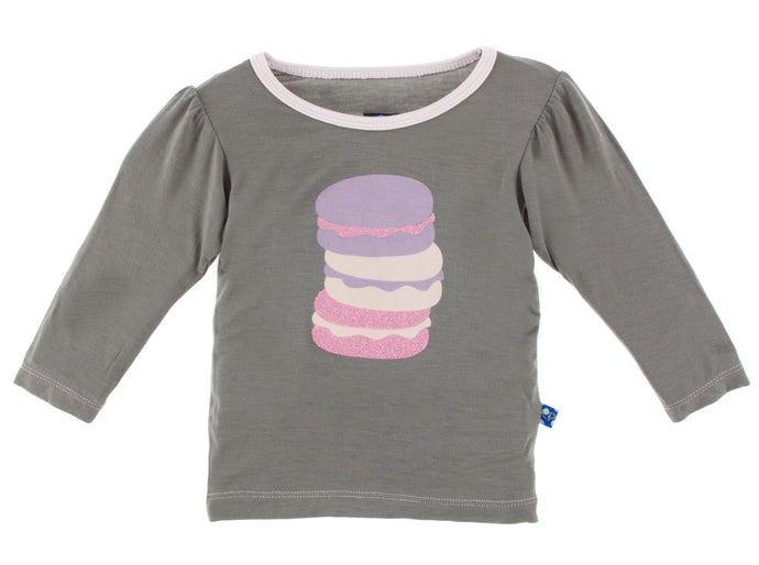 KicKee Pants Long Sleeve Piece Print Puff Tee - Cobblestone Macaroon Stack