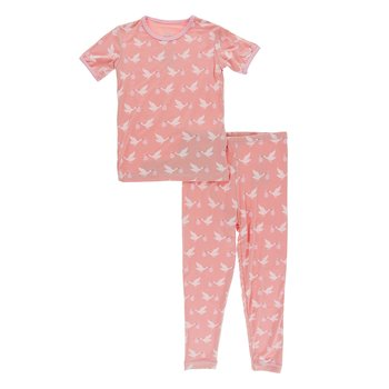 KICKEE PANTS PRINT SHORT SLEEVE PAJAMA SET IN BLUSH STORK