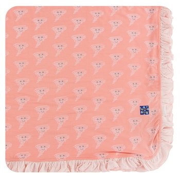 KICKEE PANTS PRINT RUFFLE TODDLER BLANKET IN BLUSH HAPPY TORNADO