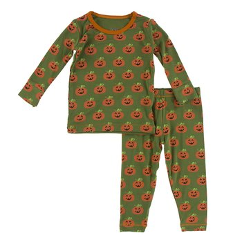 KICKEE PANTS PRINT LONG SLEEVE PAJAMA SET IN MOSS JACK O'LANTERN 12-18 MO