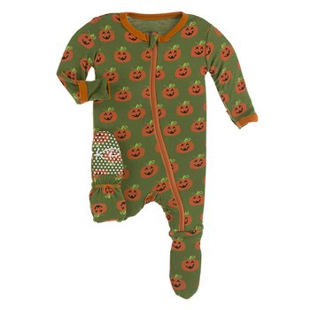 KICKEE PANTS PRINT FOOTIE WITH ZIPPER IN MOSS JACK O'LANTERN