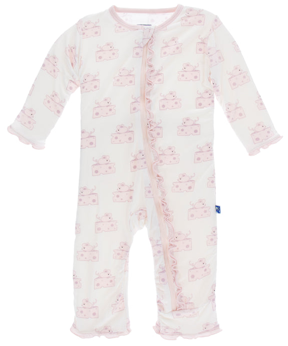 KicKee Pants Print Muffin Ruffle Coverall W/Snaps - Natural Mouse and Cheese