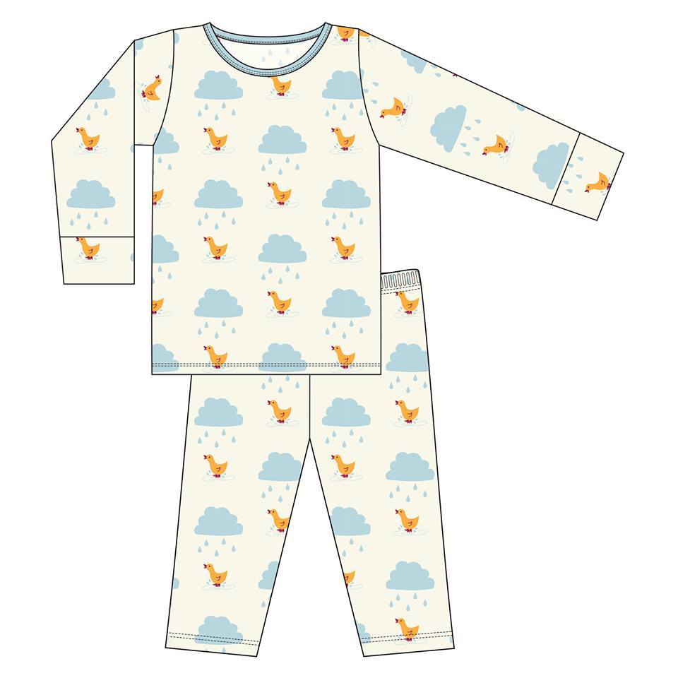 KicKee Pants Print Long Sleeve Pajama Set - Natural Puddle Duck