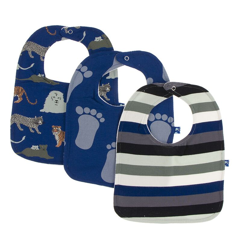 Kickee Pants Bib Set (Flag Blue Big Cats, Flag Blue Bigfoot & Zoology Stripe - One Size) Preorder
